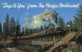 trn001383 - Log Train On Tresle, Pacific Northwest, Tacoma, Washington, WA USA Trains, Railroads Postcard Post Card Old Vintage Antique