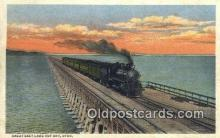 trn001439 - Great Salt Lake Cut Off, Utah, UT USA Trains, Railroads Postcard Post Card Old Vintage Antique