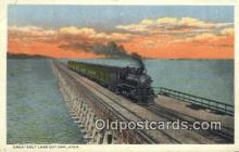trn001444 - Great Salt Lake Cut Off, Utah, UT USA Trains, Railroads Postcard Post Card Old Vintage Antique