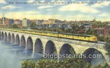 trn001455 - Streamliner Crossing Mississippi River, Minneapolis, Minnesota, MN USA Trains, Railroads Postcard Post Card Old Vintage Antique