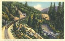 trn001480 - Loop Tunnels 14 And 15 In Siskiyou Mountains, Oregon, OR USA Trains, Railroads Postcard Post Card Old Vintage Antique
