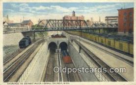 trn001519 - Detroit River Tunnel Entrance, Detroit, Michigan, MI, USA Trains, Railroads Postcard Post Card Old Vintage Antique