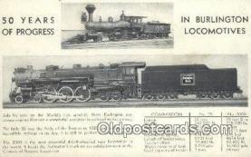trn001528 - Burlington Locomotives Trains, Railroads Postcard Post Card Old Vintage Antique