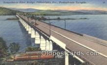 trn001588 - Susquehanna River Bridge, Philadelphia, Pennsylvania, PA USA Trains, Railroads Postcard Post Card Old Vintage Antique
