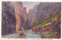 trn001616 - DRGW Train, Hanging Bridge, Royal Gorge, Colorado, CO USA Trains, Railroads Postcard Post Card Old Vintage Antique