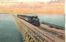 trn001656 - Lucin Cut Off, Great Salt Lake, Utah, UT USA Trains, Railroads Postcard Post Card Old Vintage Antique