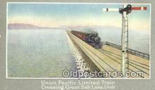 trn001666 - Union Pacific Railroad Limited Train, Great Salt Lake, Utah, UT USA Trains, Railroads Postcard Post Card Old Vintage Antique