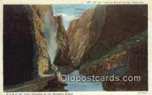 trn001695 - D And RGW Train Hanging Bridge, Royal Gorge, Colorado, CO USA Trains, Railroads Postcard Post Card Old Vintage Antique