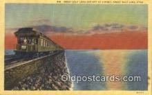 trn001702 - Great Salt Lake Cut Off, Utah, UT USA Trains, Railroads Postcard Post Card Old Vintage Antique