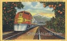 trn001735 - Santa Fes Super Chief, Orange Groves, California, CA USA Trains, Railroads Postcard Post Card Old Vintage Antique