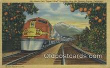 trn001736 - Santa Fes Super Chief, Orange Groves, California, CA USA Trains, Railroads Postcard Post Card Old Vintage Antique