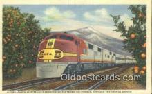 trn001744 - Santa Fe Streamliner, Orange Groves, California, CA USA Trains, Railroads Postcard Post Card Old Vintage Antique