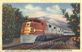 trn001746 - Santa Fe Streamliner, Orange Groves, California, CA USA Trains, Railroads Postcard Post Card Old Vintage Antique