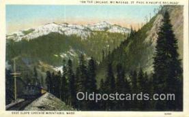 trn001754 - East Slope Cascade Mountains, Washington, WA USA Trains, Railroads Postcard Post Card Old Vintage Antique