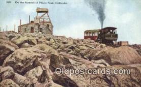 trn001771 - Summit Of Pikes Peak, Colorado, CO USA Trains, Railroads Postcard Post Card Old Vintage Antique