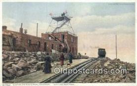 trn001775 - Station, Pikes Peak, Colorado, CO USA Trains, Railroads Postcard Post Card Old Vintage Antique