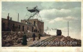 trn001776 - Station, Pikes Peak, Colorado, CO USA Trains, Railroads Postcard Post Card Old Vintage Antique