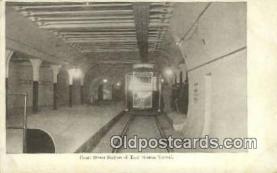 trn001796 - Court Street Station, East Boston Tunnel, Boston, Massachusetts, MA USA Trains, Railroads Postcard Post Card Old Vintage Antique
