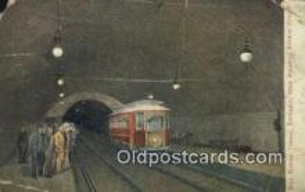 trn001803 - East Entrance , Boston Tunnel Boston, Massachusetts, MA USA Trains, Railroads Postcard Post Card Old Vintage Antique