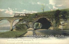 trn001804 - River Drive And Tunnel, Philadelphia, Pennsylvania, PA USA Trains, Railroads Postcard Post Card Old Vintage Antique