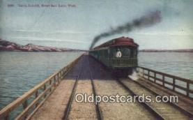 trn001808 - Lucin Cut Off, Great Salt Lake, Utah, UT USA Trains, Railroads Postcard Post Card Old Vintage Antique
