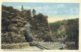 trn001810 - Sphinx head Rock, Salt Lake Railroad, Utah, UT USA Trains, Railroads Postcard Post Card Old Vintage Antique