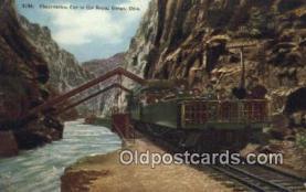 trn001832 - Observation Car Hanging Bridge, Royal Gorge, Colorado, CO USA Trains, Railroads Postcard Post Card Old Vintage Antique