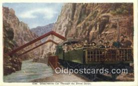 trn001833 - Observation Car Hanging Bridge, Royal Gorge, Colorado, CO USA Trains, Railroads Postcard Post Card Old Vintage Antique