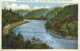 trn001840 - Railroad Along River, Blue Ridge Mountains, Tennessee, TN USA Trains, Railroads Postcard Post Card Old Vintage Antique