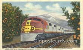 trn001842 - Santa Fe Streamliner, Orange Groves, California, CA USA Trains, Railroads Postcard Post Card Old Vintage Antique