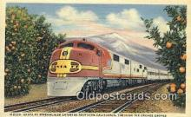 trn001844 - Santa Fe Streamliner, Orange Groves, California, CA USA Trains, Railroads Postcard Post Card Old Vintage Antique