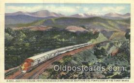 trn001845 - Santa Fe Streamliner, Cajon Pass, California, CA USA Trains, Railroads Postcard Post Card Old Vintage Antique