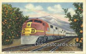 trn001847 - Santa Fe Streamliner, Orange Groves, California, CA USA Trains, Railroads Postcard Post Card Old Vintage Antique