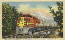 trn001848 - Santa Fe Streamliner, Orange Groves, California, CA USA Trains, Railroads Postcard Post Card Old Vintage Antique