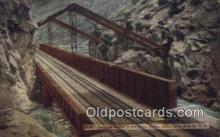 trn001887 - Hanging Bridge, Royal Gorge, Colorado, CO USA Trains, Railroads Postcard Post Card Old Vintage Antique