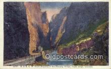 trn001891 - D and RGW Train, Hanging Bridge, Royal Gorge, Colorado, CO USA Trains, Railroads Postcard Post Card Old Vintage Antique