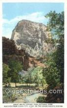 trn001982 - Great White Throne, Zion National Park, UPRR, Cedar City, Utah, UT USA Trains, Railroads Postcard Post Card Old Vintage Antique