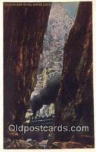 trn002002 - Crevice, Royal Gorge, Colorado, CO USA Trains, Railroads Postcard Post Card Old Vintage Antique