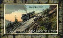 trn002019 - Train Above Timberline, Pikes Peak Cog Railwy, Pikes, Peak, Colorado, CO USA Trains, Railroads Postcard Post Card Old Vintage Antique