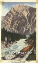 trn002044 - Mt Field and Kicking Horse River, Yoho National Park, USA Trains, Railroads Postcard Post Card Old Vintage Antique