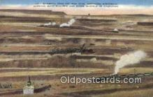 trn002108 - Mammoth Open Pit Iron Mine, Minnesota, MN USA Trains, Railroads Postcard Post Card Old Vintage Antique