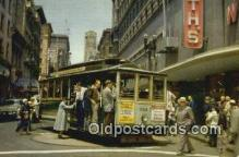 trn002163 - Cable Car On Turntable, San Francisco, California, CA USA Trains, Railroads Postcard Post Card Old Vintage Antique