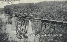trn002221 - New B and M Steel Bridge, Greenville, New Hampshire, NH USA Trains, Railroads Postcard Post Card Old Vintage Antique