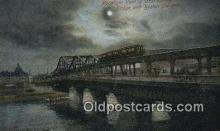 trn002228 - Moonlight View, Charlestown Bridge, Boston, Massachusetts, MA USA Trains, Railroads Postcard Post Card Old Vintage Antique