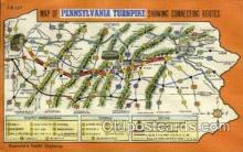 tur001018 - Map of  Pennsylvania Turnpike,  PA, Pennsylvania, USA Turnpike, Turnpikes Postcard Post Cards Old Vintage Antique