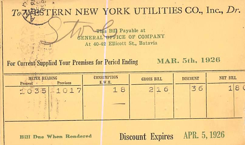 Advertising Post Card Western New York Utilities Co Batavia, NY, USA 1926