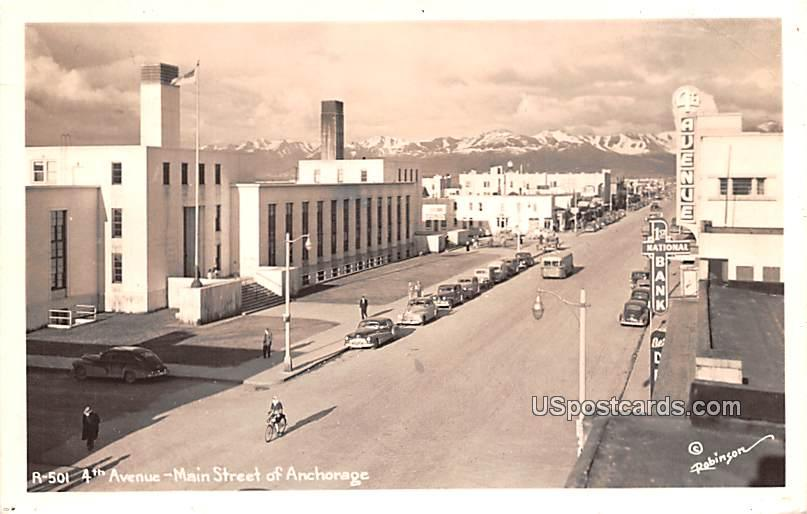 4th Avenue - Anchorage, Alaska AK Postcard