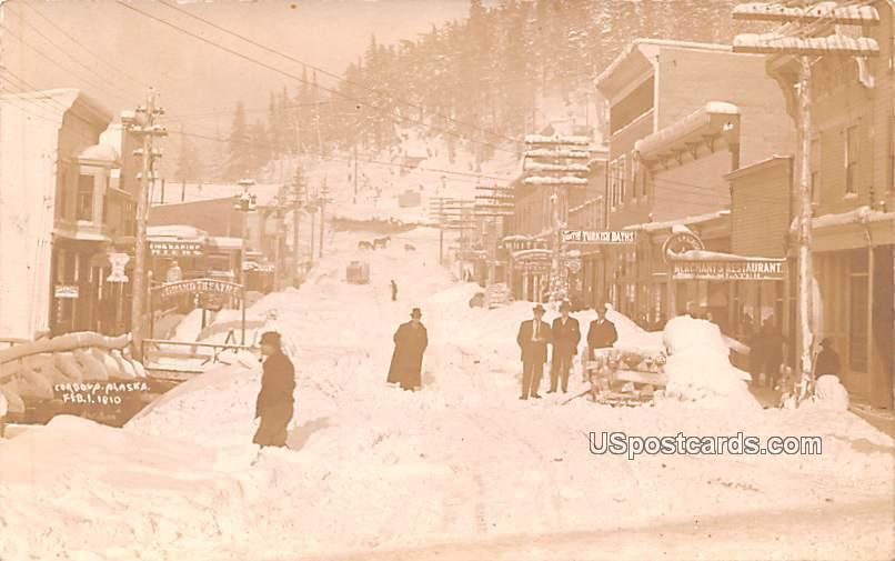 Winter Street - Cordova, Alaska AK Postcard