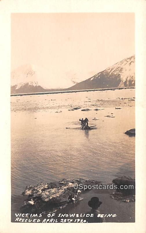 Victims of Snowslide Being Rescued April 28, 1920 - Misc, Alaska AK Postcard