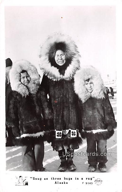Snug as three bugs in a rug - Misc, Alaska AK Postcard